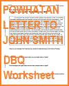 Powhatan Letter to John Smith DBQ Worksheet