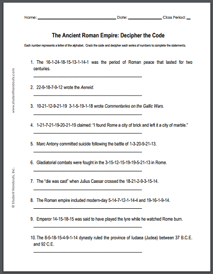 Ancient Roman Empire - Decipher-the-code puzzle worksheet is free to print (PDF file).