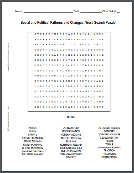 Social and Political Patterns and Changes Word Search Puzzle - Worksheet is free to print (PDF file).