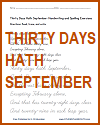 Thirty Days Hath September Handwriting Printables in Print or Cursive