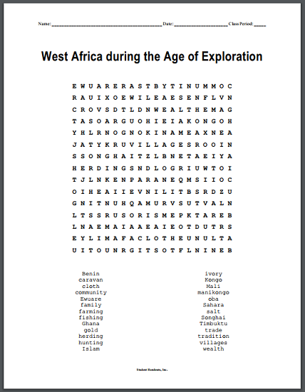 west africa during the age of exploration word search puzzle student handouts. Black Bedroom Furniture Sets. Home Design Ideas