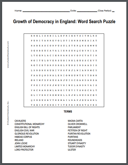Growth of Democracy in England Word Search Puzzle - Free to print (PDF file).