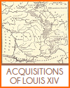Map of the Acquisitions of Louis XIV of France
