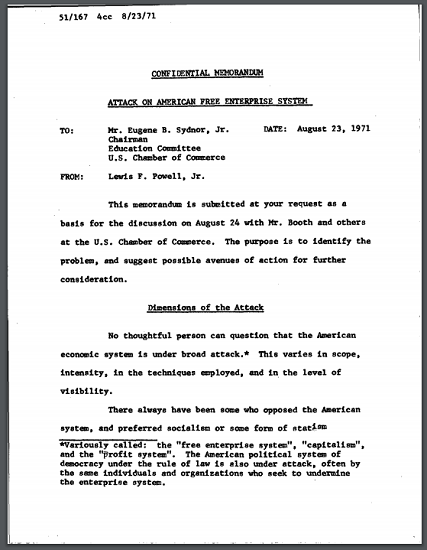 Powell Memorandum (1971) - Primary source document for United States History. Free to print (PDF file).