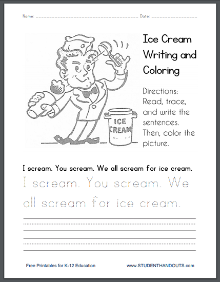 Scream for Ice Cream Coloring Page | Student Handouts