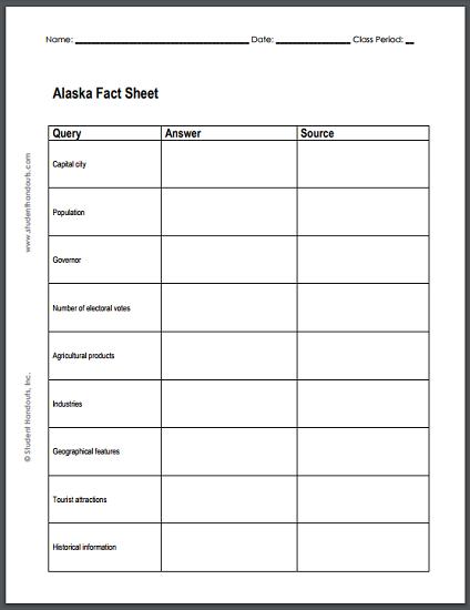 Alaska Research Worksheet - Free to print (PDF file).