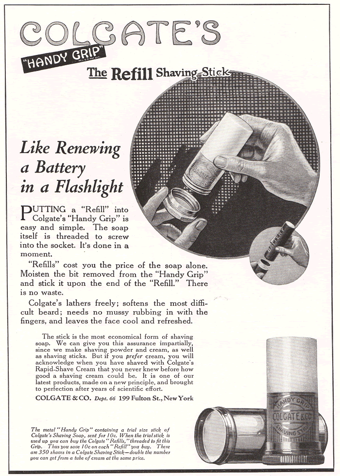 "Colgate's ""Handy Grip"" the refill shaving stick. Advertisement from 1922."