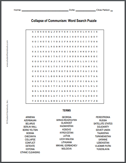 Collapse of Communism Word Search Puzzle - Free to print (PDF file).