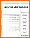 Famous Arkansans Word Search Puzzle