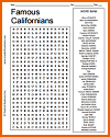 Famous Californians Word Search Puzzle