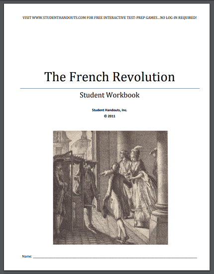 French Revolution Workbook - Free to print (PDF file) for high school World History students.