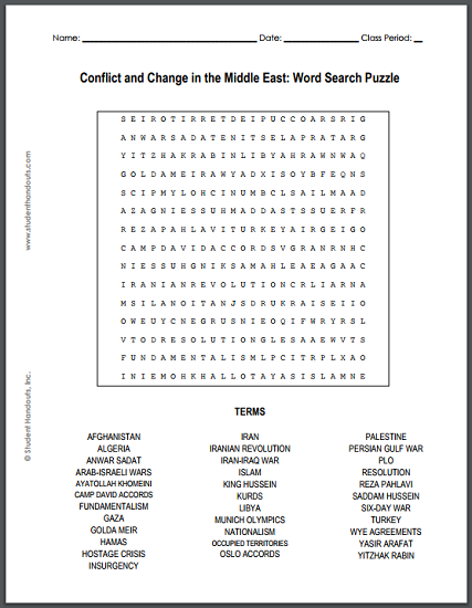 conflict and change in the middle east word search puzzle student handouts. Black Bedroom Furniture Sets. Home Design Ideas