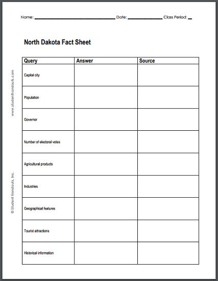 North Dakota Research Worksheet - Free to print (PDF file).
