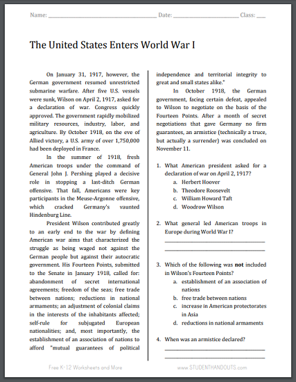 United States Enters World War I Reading with Questions | Student ...