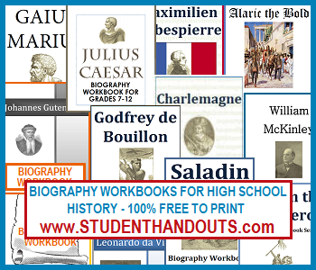 Free Printable Biography Workbooks for High School History Students