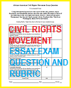 Civil Rights Movement Essay Exam Rubric Sheet