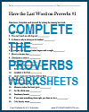 Complete the Proverbs Worksheets