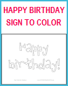 Happy Birthday Sign to Color