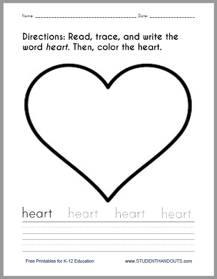 Heart Coloring and Writing Worksheet - Free to print (PDF file) for kindergarten and first grade.