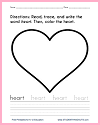 Heart Coloring Page with Writing Practice