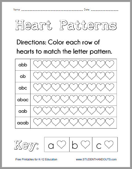Heart Patterns Worksheet - Free to print (PDF file).