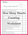 """How many hearts?"" Counting Worksheet for Kindergarten"
