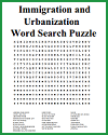 Immigration and Urbanization Word Search Puzzle
