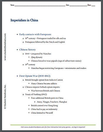 Imperialism in China Outline - Free to print (PDF file) for high school World History students.