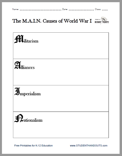 M A I N Causes Of World War I Worksheet Student Handouts