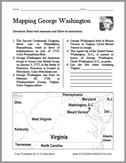 George Washington Map Worksheet - Free to print (PDF file) for grades 4-6.