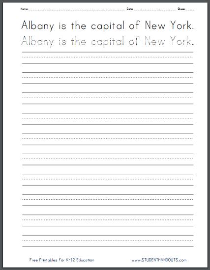 New York State Handwriting Practice Worksheets - Cursive script and print manuscript. Free to print (PDF files).