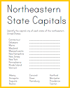 Northeastern U.S. State Capitals ID Matching Worksheet
