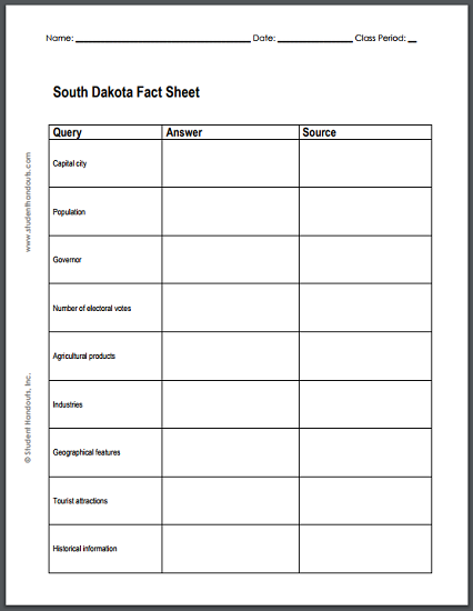 South Dakota Research Worksheet - Free to print (PDF file).