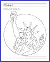 Statue of Liberty Coloring Page with Writing Practice