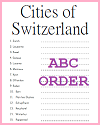Swiss Cities in ABC Order Worksheet