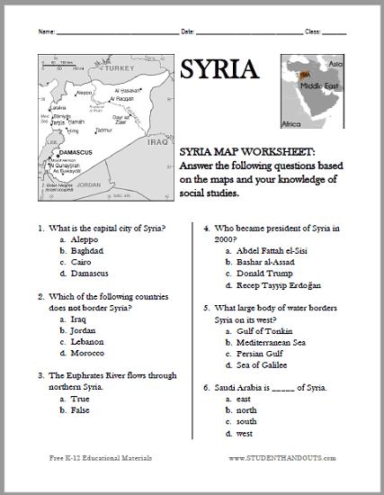 Syria Map Worksheet - Free to print (PDF file).