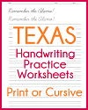 Texas Handwriting Practice Worksheets
