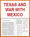 Texas and War with Mexico Reading with Questions
