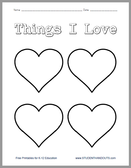 Things I Love Worksheet - Free to print (PDF file). Perfect for kindergarten through second grade on Valentine's Day.