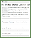 U.S. Constitution Handwriting Practice Worksheet