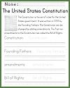 U.S. Constitution Handwriting Practice Worksheet