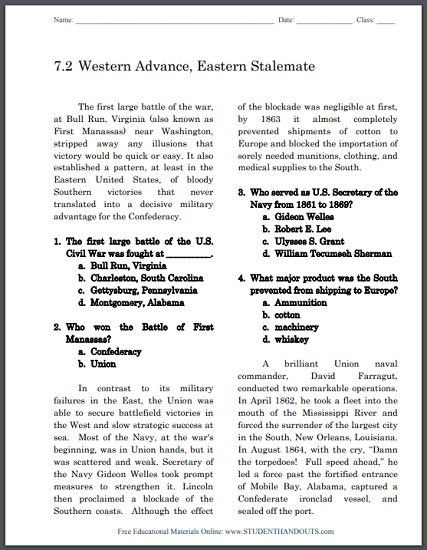 Western Advance, Eastern Stalemate - Free printable reading with questions (PDF file) for high school American History students and teachers.