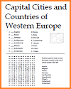 Western Europe Matching Word Search Puzzle Worksheet