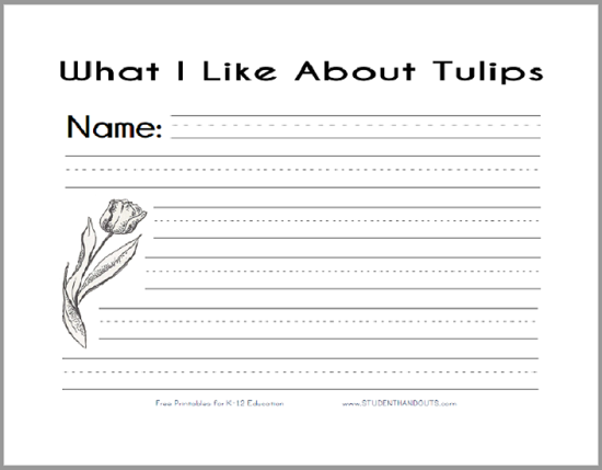 What I Like About Tulips Writing Prompt - Free to print (PDF file).