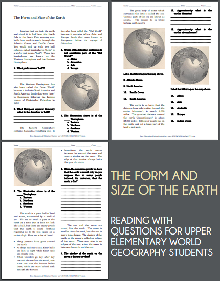 The Form and Size of Earth - Free printable reading with questions for upper elementary World Geography students.