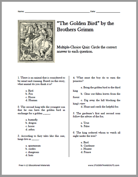 """The Golden Bird"" Fairy Tale eBook - Free to print with worksheets (PDFs)."