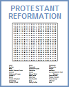 Protestant Reformation Word Search Puzzle