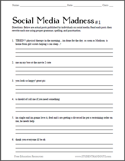 Social Media Madness Worksheets Student Handouts