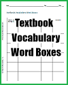 Textbook Vocabulary Word Boxes