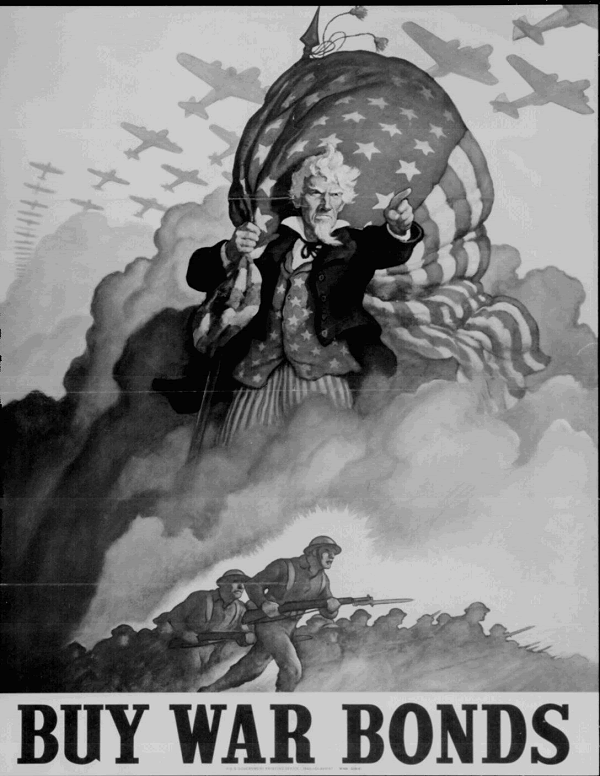 WWII Uncle Sam Buy War Bonds Poster
